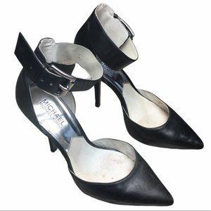 MICHAEL KORS Black Leather Zady Ankle Strap Heels